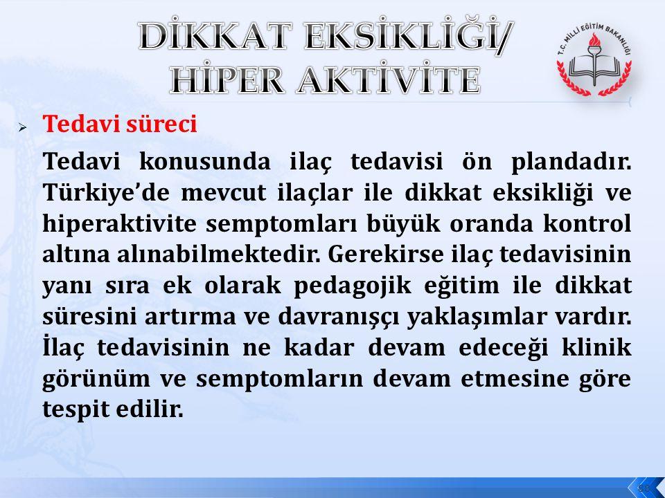  Tedavi süreci Tedavi konusunda ilaç tedavisi ön plandadır. Türkiye'de mevcut ilaçlar ile dikkat eksikliği ve hiperaktivite semptomları büyük oranda