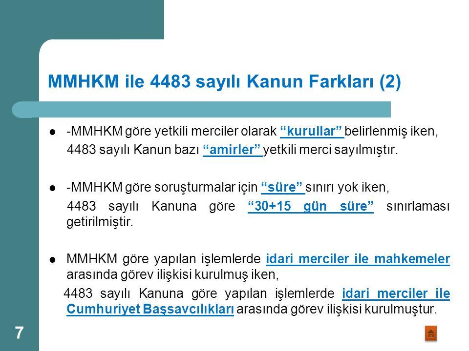 """MMHKM ile 4483 sayılı Kanun Farkları (1) -MMHKM """"görev sebebiyle"""" ve """"görev sırasında"""" işlenen suçları kapsamakta iken, 4483 sayılı Kanun """"görev sebeb"""