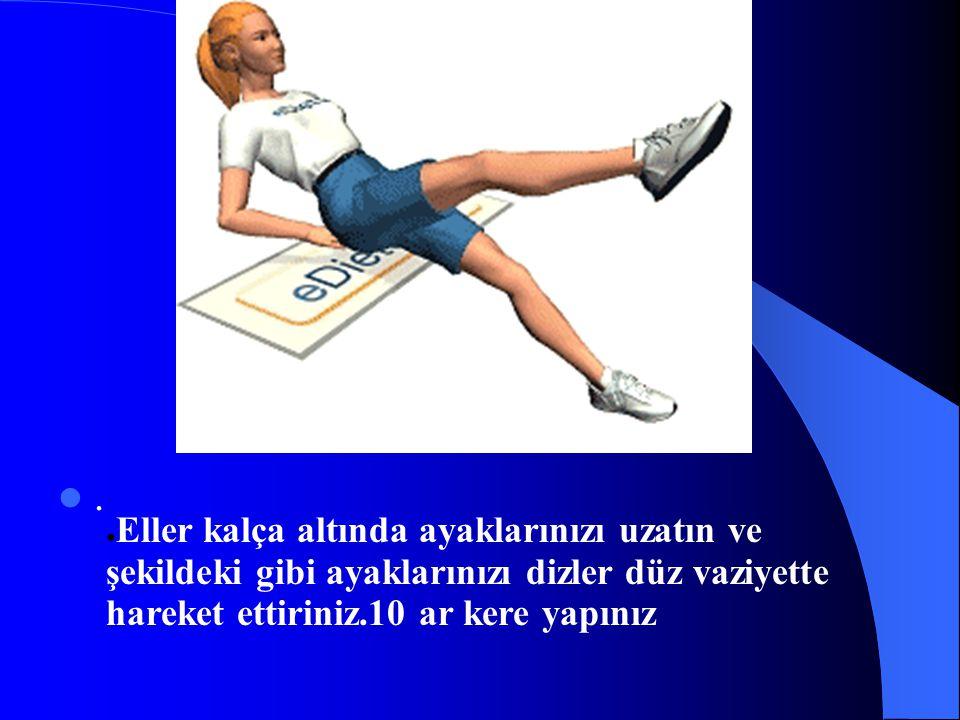 . ● Eller kalça altında ayaklarınızı uzatın ve şekildeki gibi ayaklarınızı dizler düz vaziyette hareket ettiriniz.10 ar kere yapınız