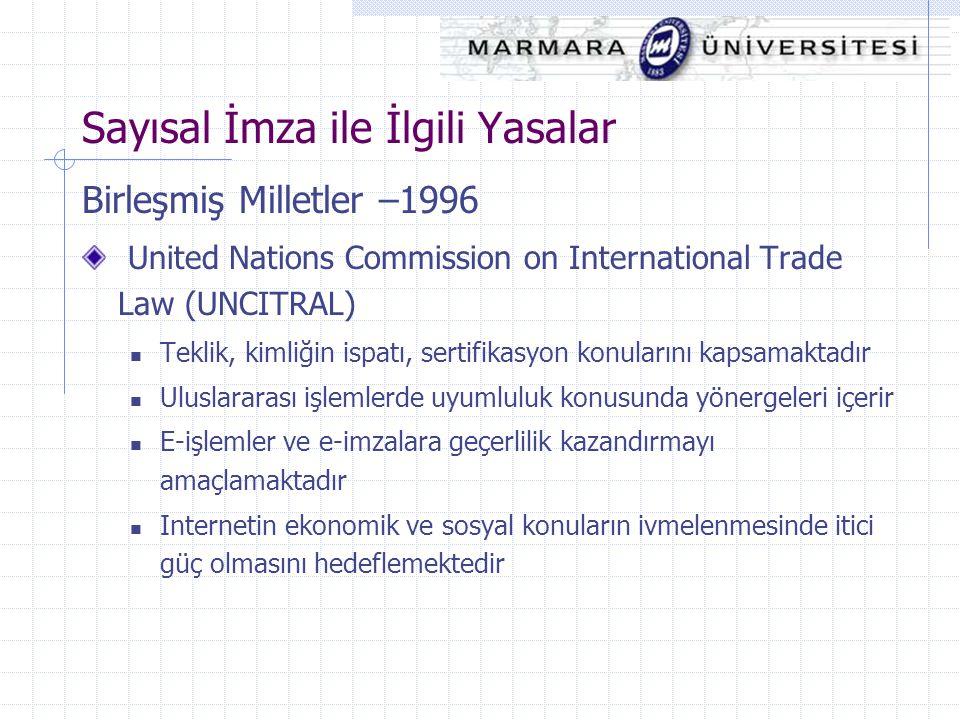 Birleşmiş Milletler –1996 United Nations Commission on International Trade Law (UNCITRAL) Teklik, kimliğin ispatı, sertifikasyon konularını kapsamakta