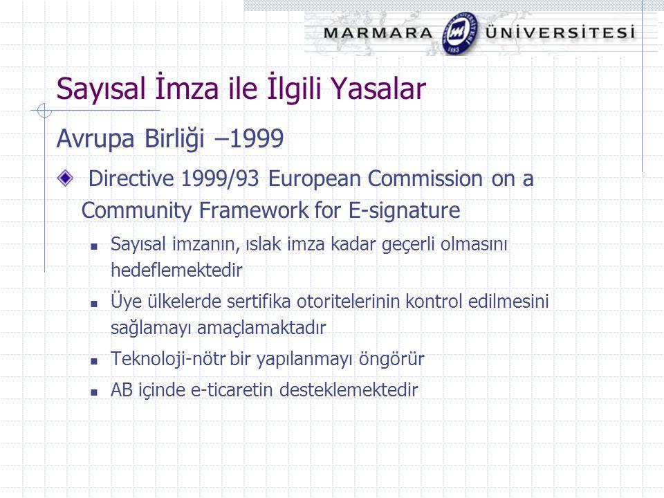 Sayısal İmza ile İlgili Yasalar Avrupa Birliği –1999 Directive 1999/93 European Commission on a Community Framework for E-signature Sayısal imzanın, ı