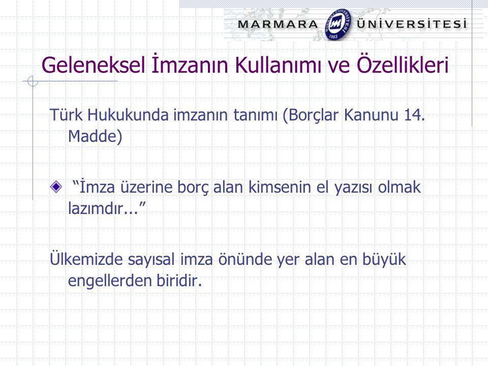 """Geleneksel İmzanın Kullanımı ve Özellikleri Türk Hukukunda imzanın tanımı (Borçlar Kanunu 14. Madde) """"İmza üzerine borç alan kimsenin el yazısı olmak"""