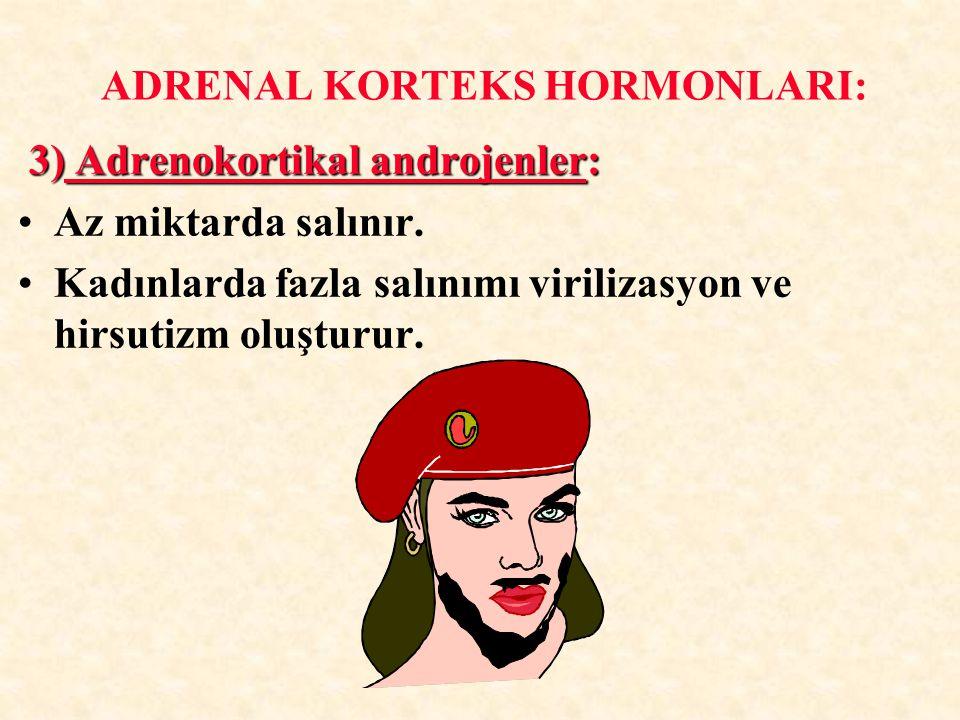 3) Adrenokortikal androjenler: 3) Adrenokortikal androjenler: Az miktarda salınır. Kadınlarda fazla salınımı virilizasyon ve hirsutizm oluşturur. ADRE