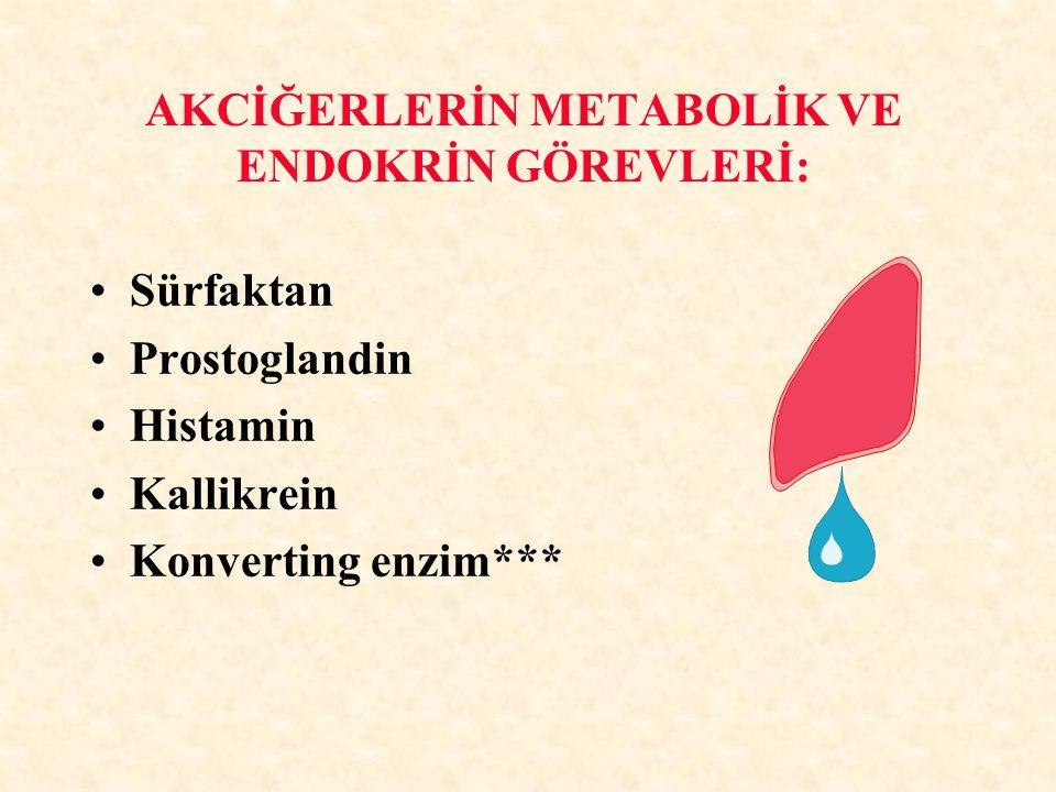 AKCİĞERLERİN METABOLİK VE ENDOKRİN GÖREVLERİ: Sürfaktan Prostoglandin Histamin Kallikrein Konverting enzim***