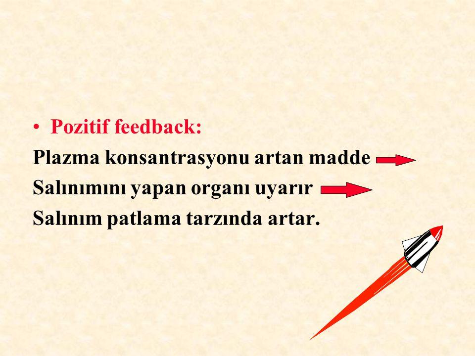 Hormon salınımı kontrolünde hakim olan mekanizma negatif feedback'tir.