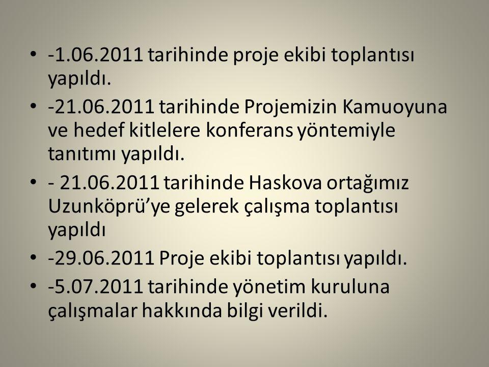 -1.06.2011 tarihinde proje ekibi toplantısı yapıldı.