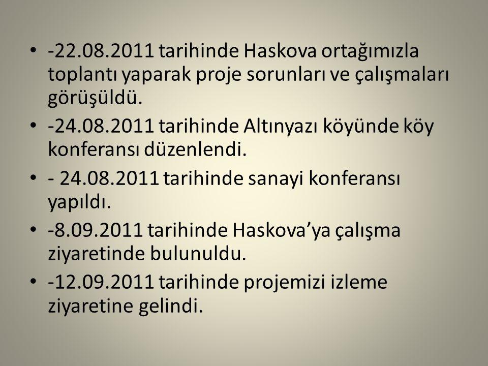 -22.08.2011 tarihinde Haskova ortağımızla toplantı yaparak proje sorunları ve çalışmaları görüşüldü.