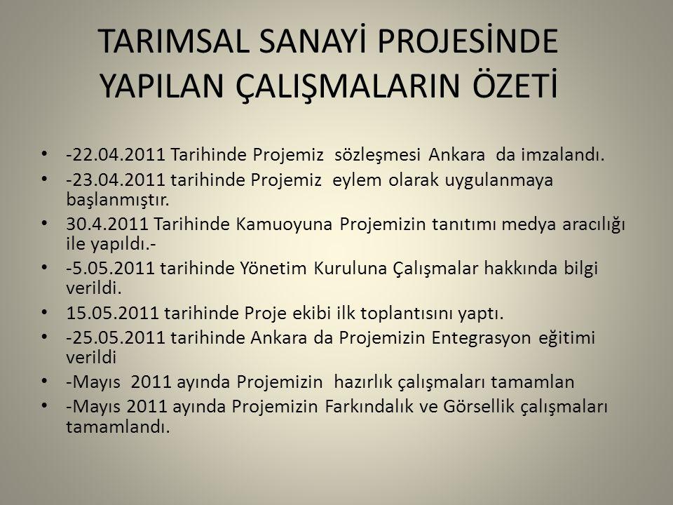 -22.04.2011 Tarihinde Projemiz sözleşmesi Ankara da imzalandı.