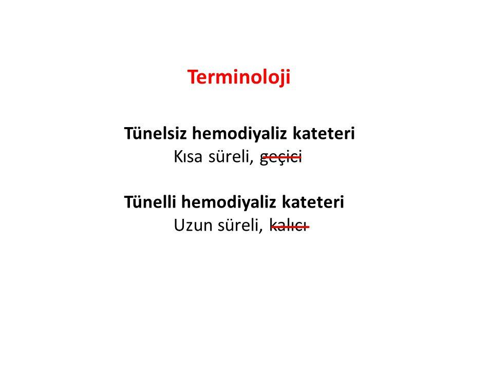 Terminoloji Tünelsiz hemodiyaliz kateteri Kısa süreli, geçici Tünelli hemodiyaliz kateteri Uzun süreli, kalıcı