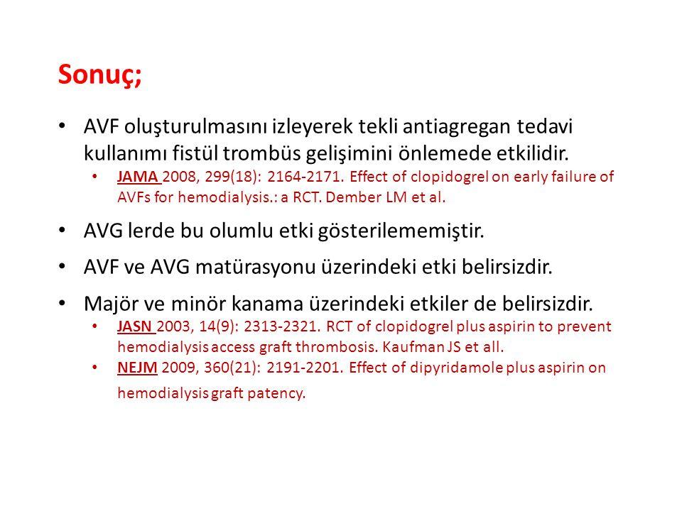 Sonuç; AVF oluşturulmasını izleyerek tekli antiagregan tedavi kullanımı fistül trombüs gelişimini önlemede etkilidir. JAMA 2008, 299(18): 2164-2171. E