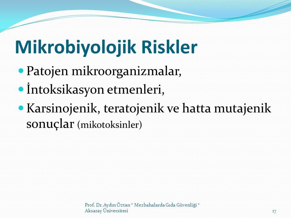 Mikrobiyolojik Riskler Patojen mikroorganizmalar, İntoksikasyon etmenleri, Karsinojenik, teratojenik ve hatta mutajenik sonuçlar (mikotoksinler) Prof.