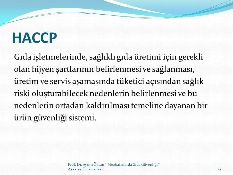 HACCP Gıda işletmelerinde, sağlıklı gıda üretimi için gerekli olan hijyen şartlarının belirlenmesi ve sağlanması, üretim ve servis aşamasında tüketici açısından sağlık riski oluşturabilecek nedenlerin belirlenmesi ve bu nedenlerin ortadan kaldırılması temeline dayanan bir ürün güvenliği sistemi.