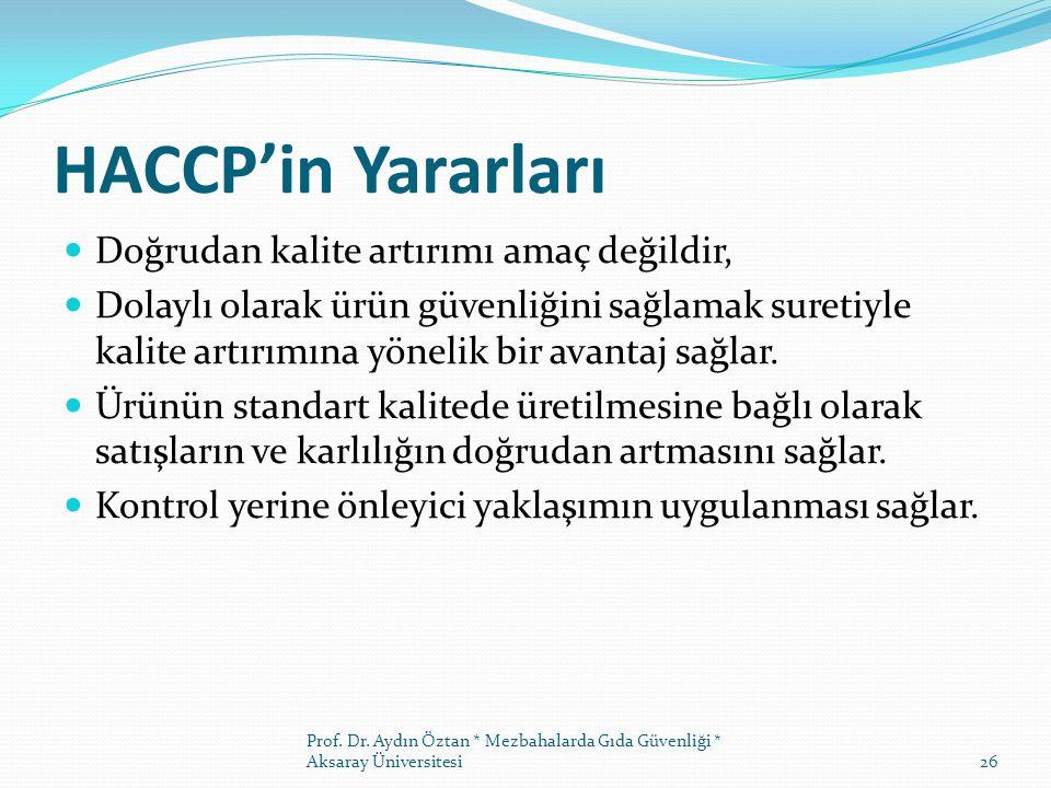 HACCP'in Yararları Doğrudan kalite artırımı amaç değildir, Dolaylı olarak ürün güvenliğini sağlamak suretiyle kalite artırımına yönelik bir avantaj sağlar.