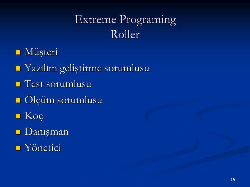 15 Extreme Programing Roller Müşteri Müşteri Yazılım geliştirme sorumlusu Yazılım geliştirme sorumlusu Test sorumlusu Test sorumlusu Ölçüm sorumlusu Ö