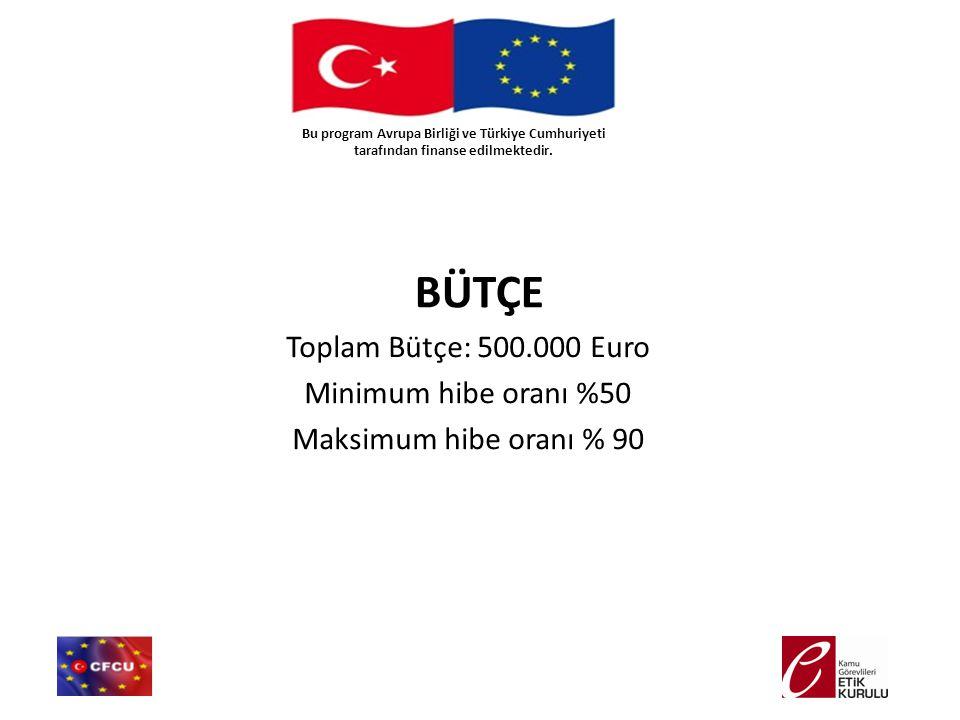 Toplam Bütçe: 500.000 Euro Minimum hibe oranı %50 Maksimum hibe oranı % 90 BÜTÇE Bu program Avrupa Birliği ve Türkiye Cumhuriyeti tarafından finanse e