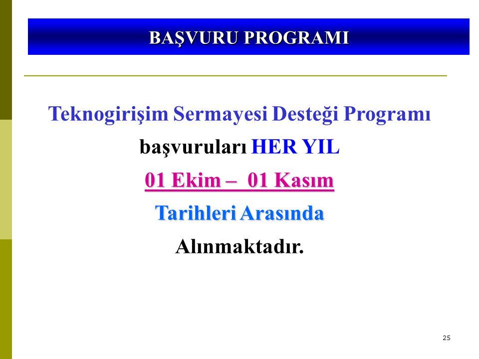 25 5746 SAYILI KANUN VE 26953 SAYILI YÖNETMELİK Teknogirişim Sermayesi Desteği Programı başvuruları HER YIL 01 Ekim – 01 Kasım Tarihleri Arasında Alınmaktadır.