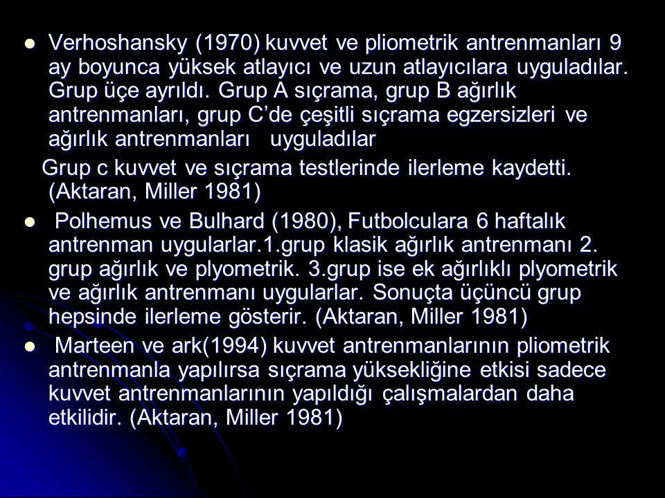 Verhoshansky (1970) kuvvet ve pliometrik antrenmanları 9 ay boyunca yüksek atlayıcı ve uzun atlayıcılara uyguladılar. Grup üçe ayrıldı. Grup A sıçrama