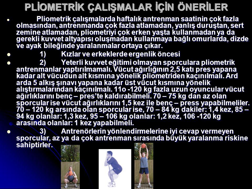 PLİOMETRİK ÇALIŞMALAR İÇİN ÖNERİLER Pliometrik çalışmalarda haftalık antrenman saatinin çok fazla olmasından, antrenmanda çok fazla atlamadan, yanlış