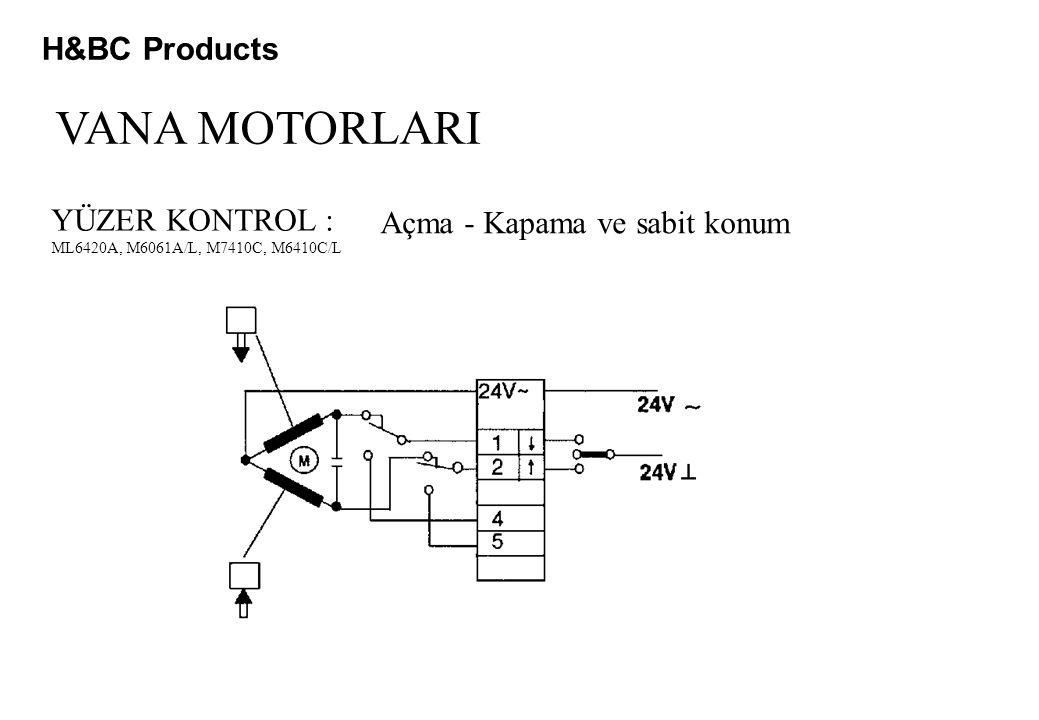 H&BC Products VANA MOTORLARI YÜZER KONTROL : ML6420A, M6061A/L, M7410C, M6410C/L Açma - Kapama ve sabit konum