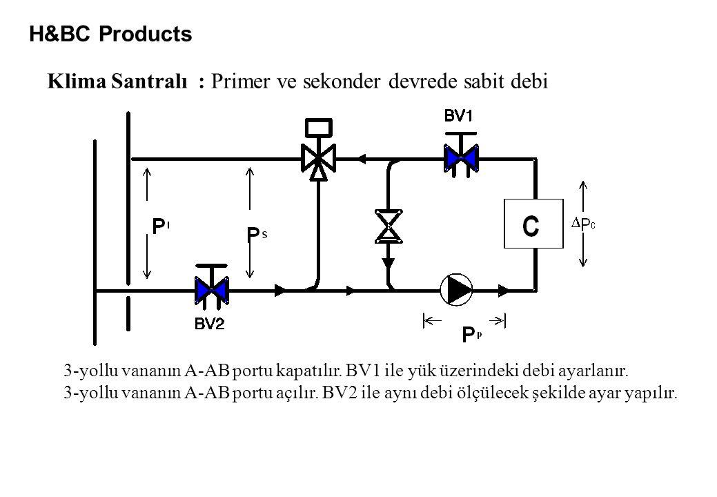 H&BC Products Klima Santralı : Primer ve sekonder devrede sabit debi 3-yollu vananın A-AB portu kapatılır. BV1 ile yük üzerindeki debi ayarlanır. 3-yo