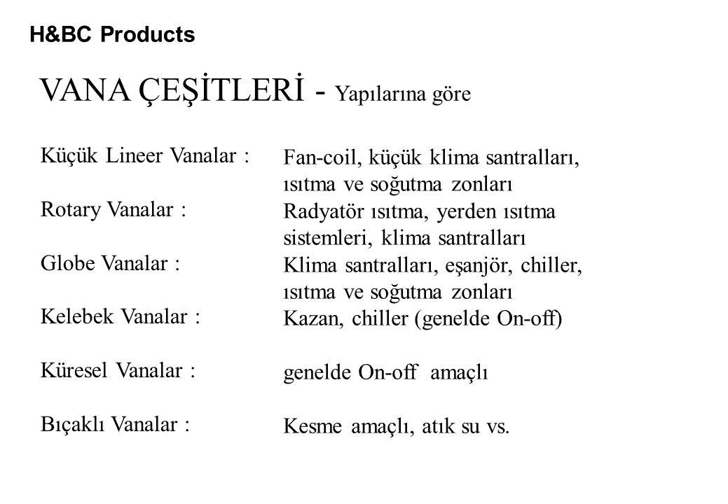 H&BC Products VANA ÇEŞİTLERİ - Yapılarına göre Küçük Lineer Vanalar : Rotary Vanalar : Globe Vanalar : Kelebek Vanalar : Küresel Vanalar : Bıçaklı Van