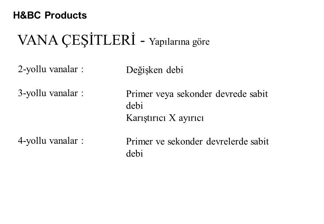 H&BC Products VANA ÇEŞİTLERİ - Yapılarına göre 2-yollu vanalar : 3-yollu vanalar : 4-yollu vanalar : Değişken debi Primer veya sekonder devrede sabit debi Karıştırıcı X ayırıcı Primer ve sekonder devrelerde sabit debi