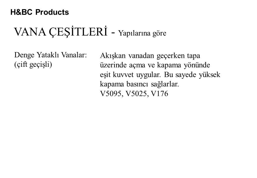 H&BC Products VANA ÇEŞİTLERİ - Yapılarına göre Denge Yataklı Vanalar: (çift geçişli) Akışkan vanadan geçerken tapa üzerinde açma ve kapama yönünde eşi