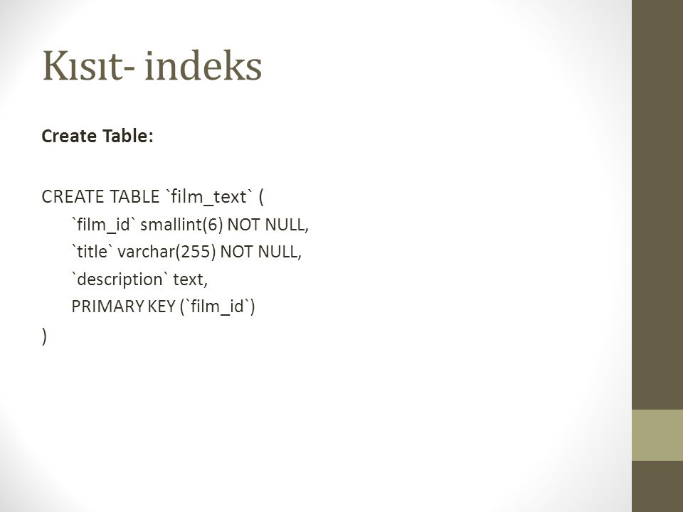 Kısıt- indeks Create Table: CREATE TABLE `film_text` ( `film_id` smallint(6) NOT NULL, `title` varchar(255) NOT NULL, `description` text, PRIMARY KEY