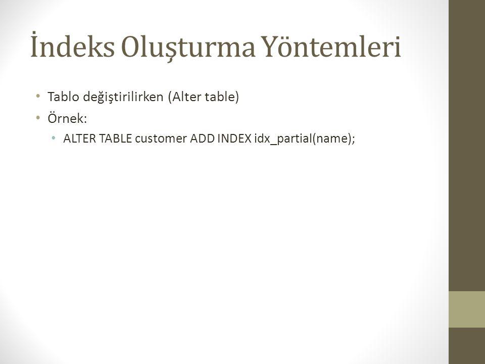 İndeks Oluşturma Yöntemleri Tablo değiştirilirken (Alter table) Örnek: ALTER TABLE customer ADD INDEX idx_partial(name);