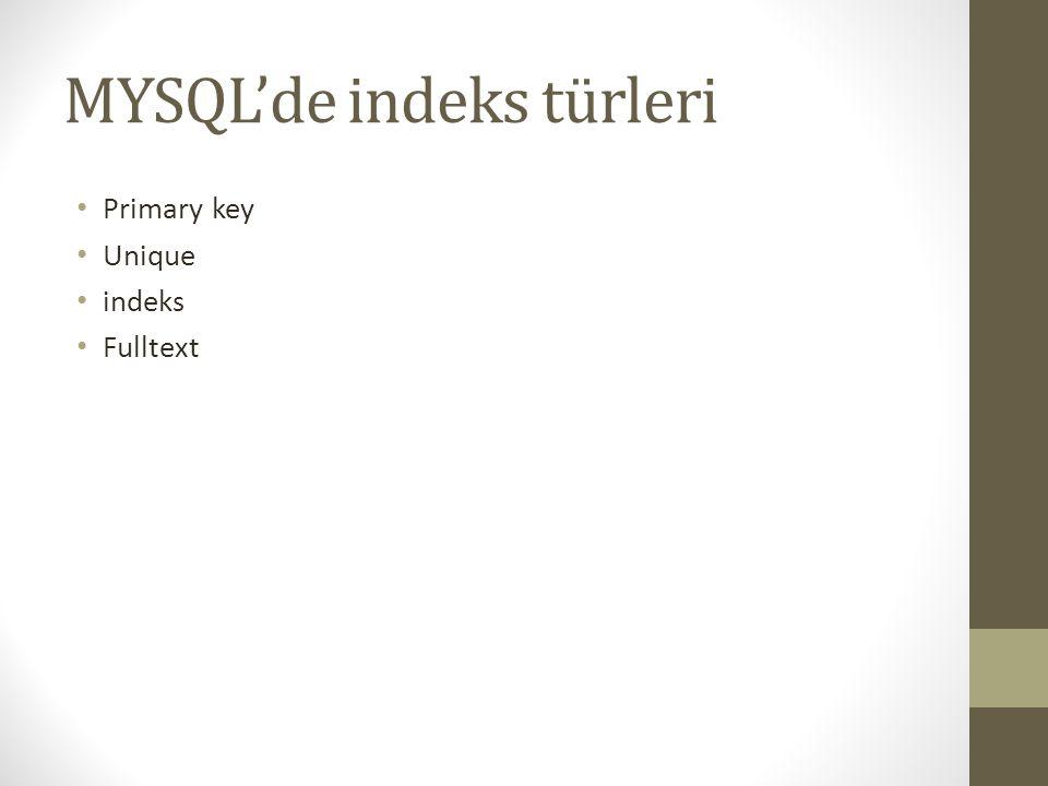 MYSQL'de indeks türleri Primary key Unique indeks Fulltext