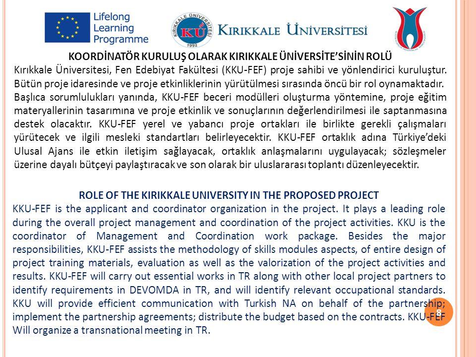 KOORDİNATÖR KURULUŞ OLARAK KIRIKKALE ÜNİVERSİTE'SİNİN ROLÜ Kırıkkale Üniversitesi, Fen Edebiyat Fakültesi (KKU-FEF) proje sahibi ve yönlendirici kurul