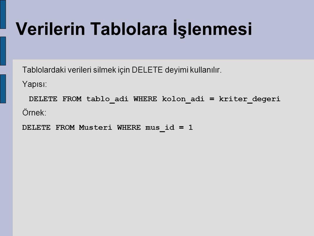 Verilerin Tablolara İşlenmesi Tablolardaki verileri silmek için DELETE deyimi kullanılır. Yapısı: DELETE FROM tablo_adi WHERE kolon_adi = kriter_deger