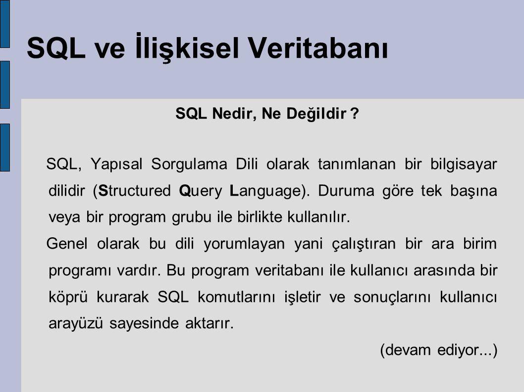 SQL ve İlişkisel Veritabanı SQL Nedir, Ne Değildir ? SQL, Yapısal Sorgulama Dili olarak tanımlanan bir bilgisayar dilidir (Structured Query Language).
