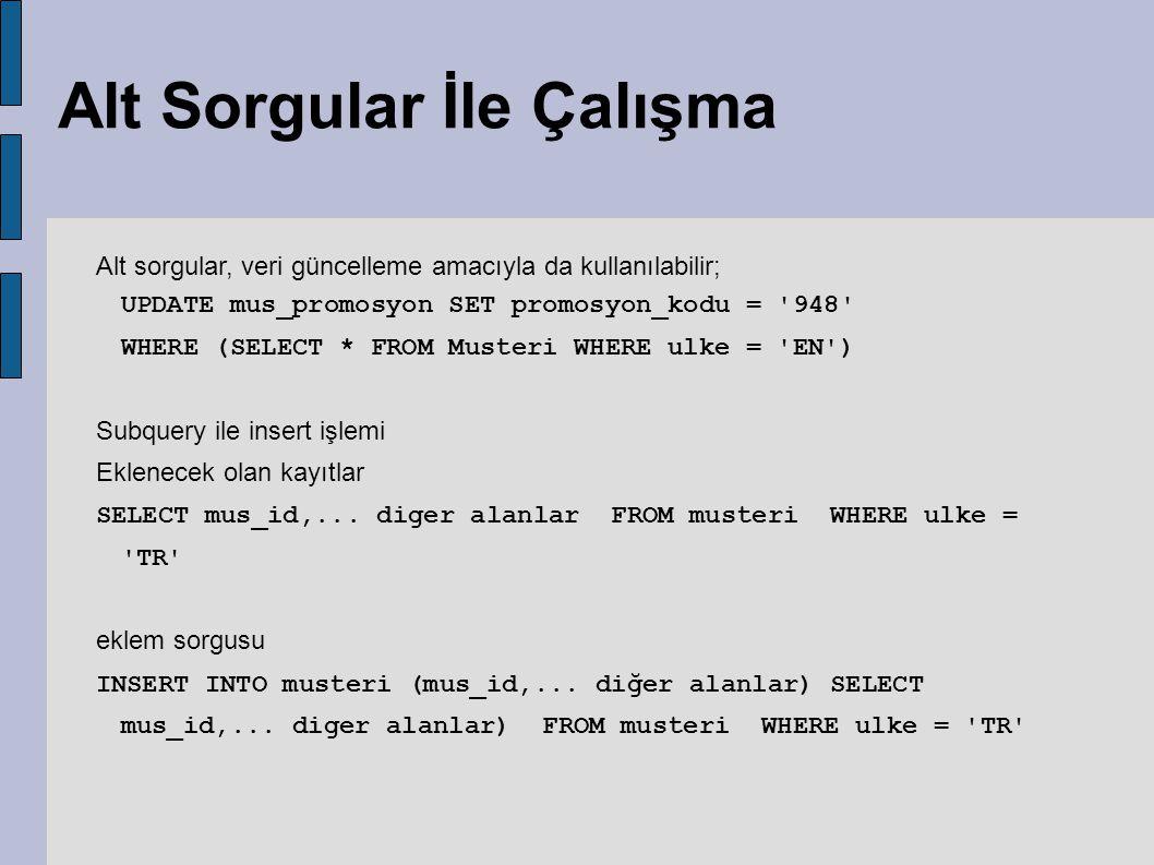 Alt Sorgular İle Çalışma Alt sorgular, veri güncelleme amacıyla da kullanılabilir; UPDATE mus_promosyon SET promosyon_kodu = '948' WHERE (SELECT * FRO