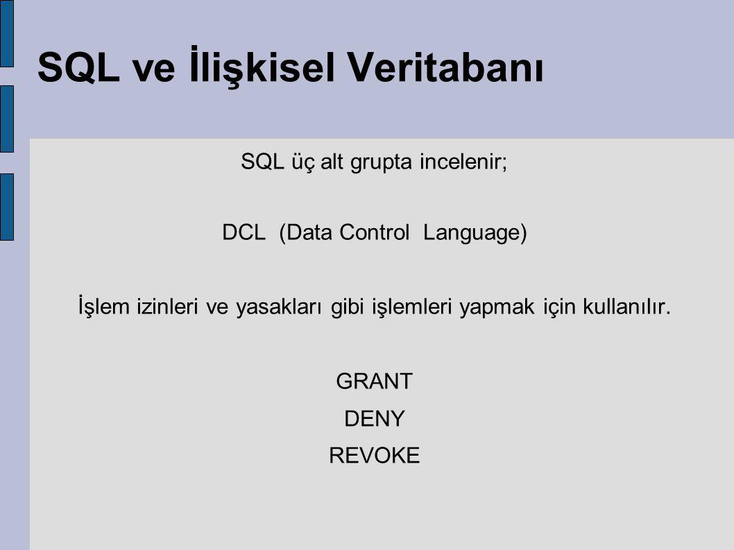 SQL ve İlişkisel Veritabanı SQL üç alt grupta incelenir; DCL (Data Control Language) İşlem izinleri ve yasakları gibi işlemleri yapmak için kullanılır