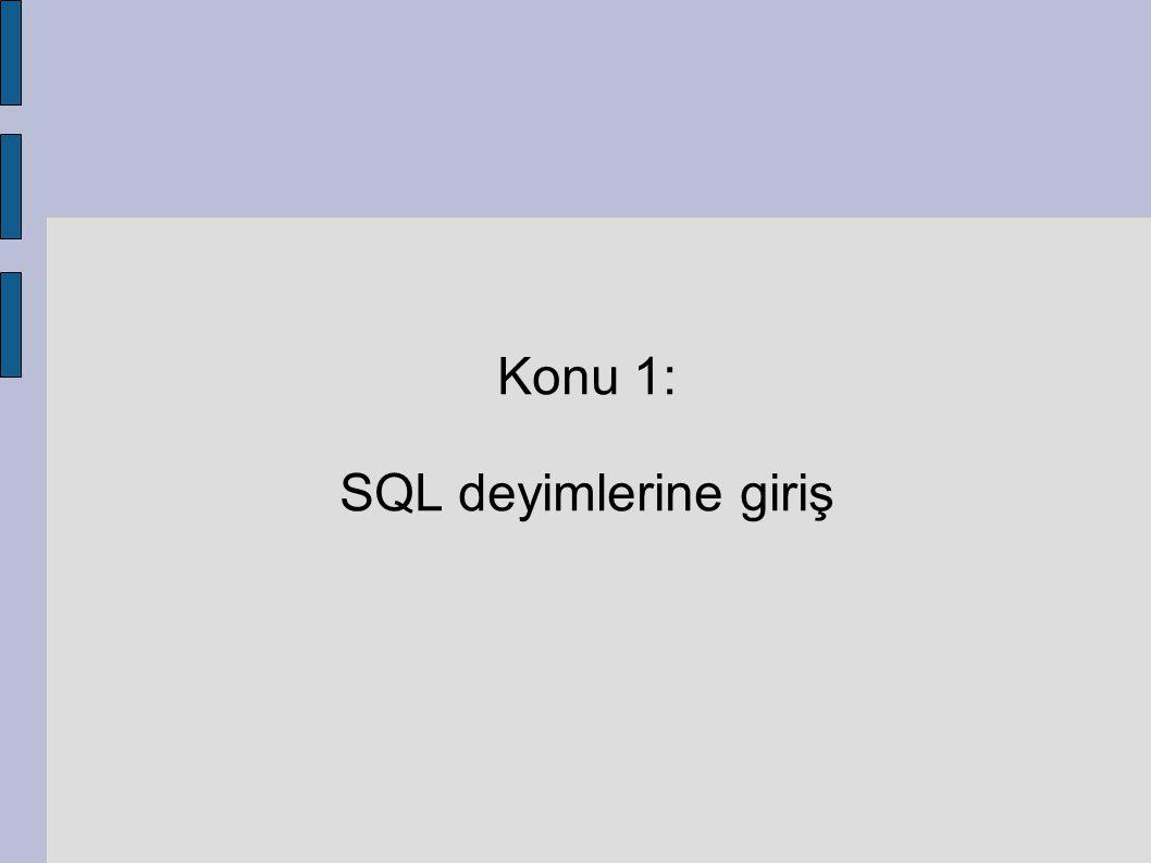 SQL Deyimlerine Giriş SQL deyimleri günlük kullanım diline yakın kelimelerden oluşan ve birlikte kullanıldığında veritabanı işlemlerini yerine getiren komutlardır.