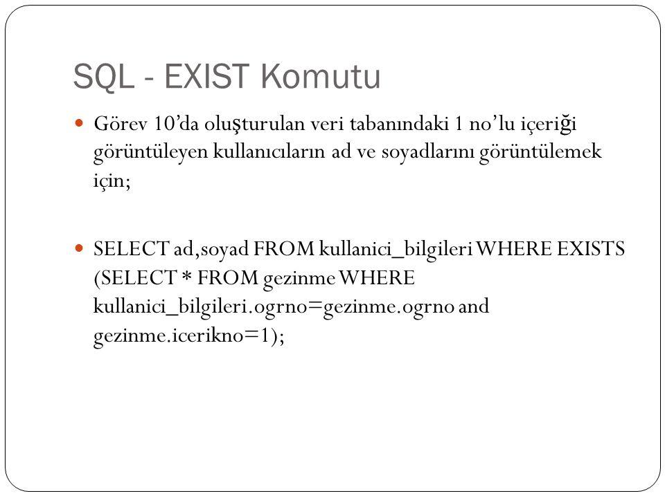 SQL - EXIST Komutu Görev 10'da olu ş turulan veri tabanındaki 1 no'lu içeri ğ i görüntüleyen kullanıcıların ad ve soyadlarını görüntülemek için; SELECT ad,soyad FROM kullanici_bilgileri WHERE EXISTS (SELECT * FROM gezinme WHERE kullanici_bilgileri.ogrno=gezinme.ogrno and gezinme.icerikno=1);