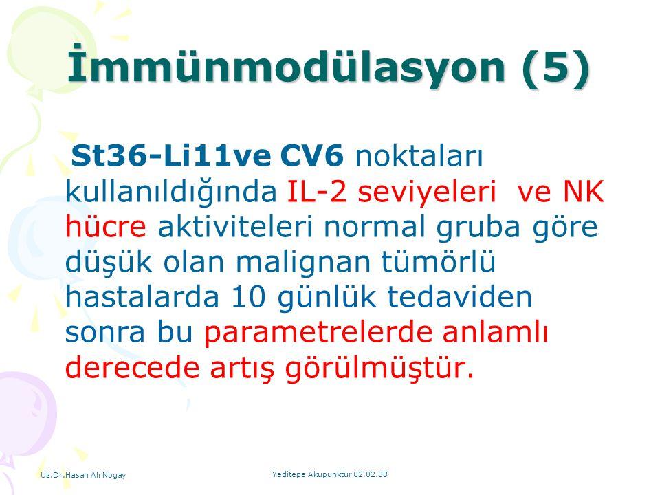 Uz.Dr.Hasan Ali Nogay Yeditepe Akupunktur 02.02.08 St36-Li11ve CV6 noktaları kullanıldığında IL-2 seviyeleri ve NK hücre aktiviteleri normal gruba gör