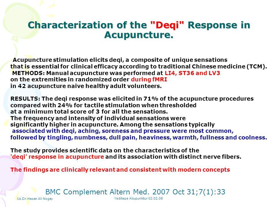 Uz.Dr.Hasan Ali Nogay Yeditepe Akupunktur 02.02.08 Characterization of the