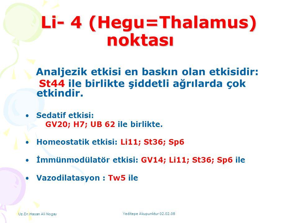 Uz.Dr.Hasan Ali Nogay Yeditepe Akupunktur 02.02.08 Li- 4 (Hegu=Thalamus) noktası Li- 4 (Hegu=Thalamus) noktası Analjezik etkisi en baskın olan etkisid