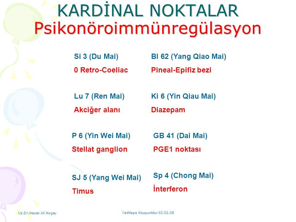 Uz.Dr.Hasan Ali Nogay Yeditepe Akupunktur 02.02.08 KARDİNAL NOKTALAR Psikonöroimmünregülasyon Si 3 (Du Mai) 0 Retro-Coeliac P 6 (Yin Wei Mai) Stellat