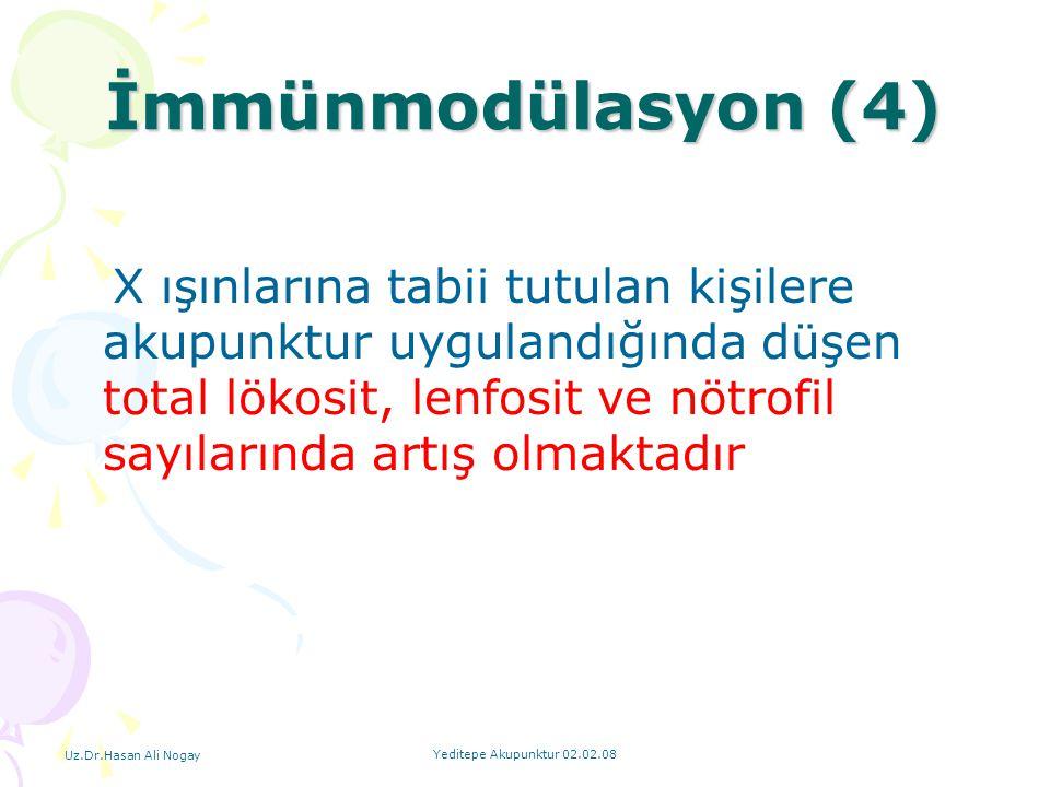 Uz.Dr.Hasan Ali Nogay Yeditepe Akupunktur 02.02.08 X ışınlarına tabii tutulan kişilere akupunktur uygulandığında düşen total lökosit, lenfosit ve nötr