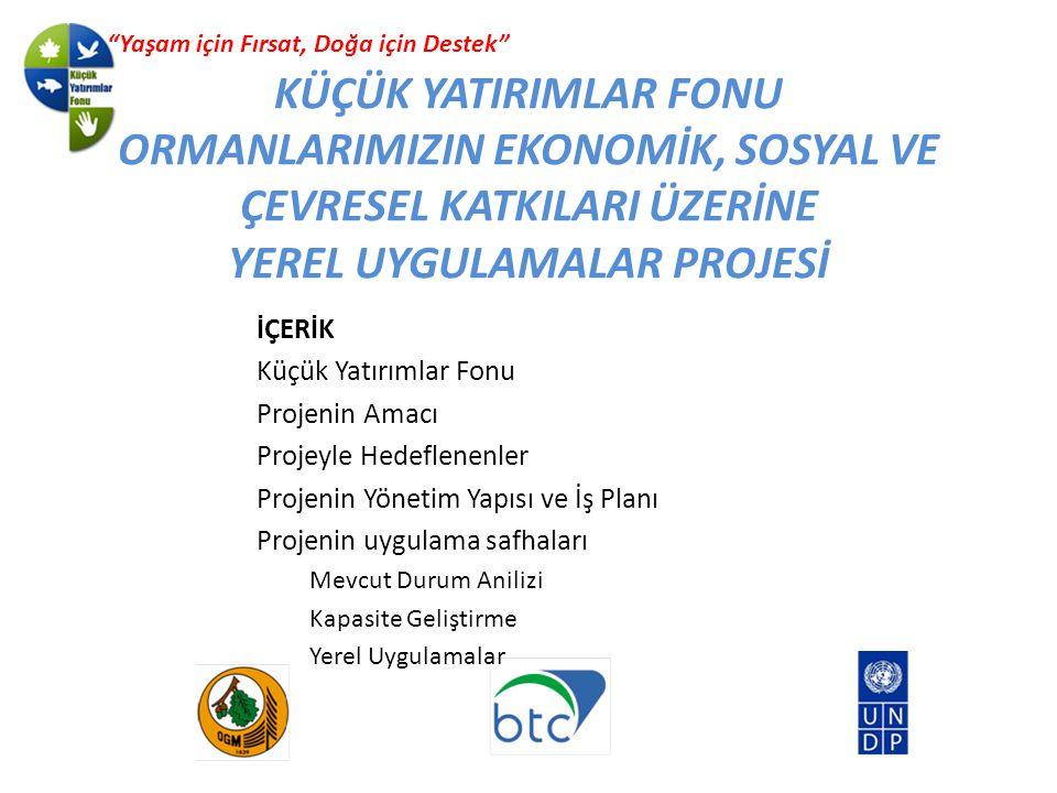 KÜÇÜK YATIRIMLAR FONU ORMANLARIMIZIN EKONOMİK, SOSYAL VE ÇEVRESEL KATKILARI ÜZERİNE YEREL UYGULAMALAR PROJESİ Yaşam için Fırsat, Doğa için Destek İÇERİK Küçük Yatırımlar Fonu Projenin Amacı Projeyle Hedeflenenler Projenin Yönetim Yapısı ve İş Planı Projenin uygulama safhaları Mevcut Durum Anilizi Kapasite Geliştirme Yerel Uygulamalar