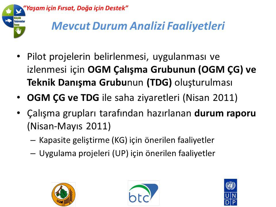 Mevcut Durum Analizi Faaliyetleri Pilot projelerin belirlenmesi, uygulanması ve izlenmesi için OGM Çalışma Grubunun (OGM ÇG) ve Teknik Danışma Grubunun (TDG) oluşturulması OGM ÇG ve TDG ile saha ziyaretleri (Nisan 2011) Çalışma grupları tarafından hazırlanan durum raporu (Nisan-Mayıs 2011) – Kapasite geliştirme (KG) için önerilen faaliyetler – Uygulama projeleri (UP) için önerilen faaliyetler
