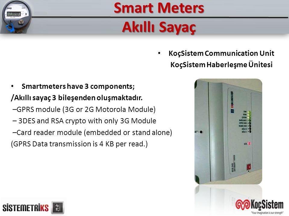 Smart Meters Akıllı Sayaç Smartmeters have 3 components; /Akıllı sayaç 3 bileşenden oluşmaktadır. –GPRS module (3G or 2G Motorola Module) – 3DES and R