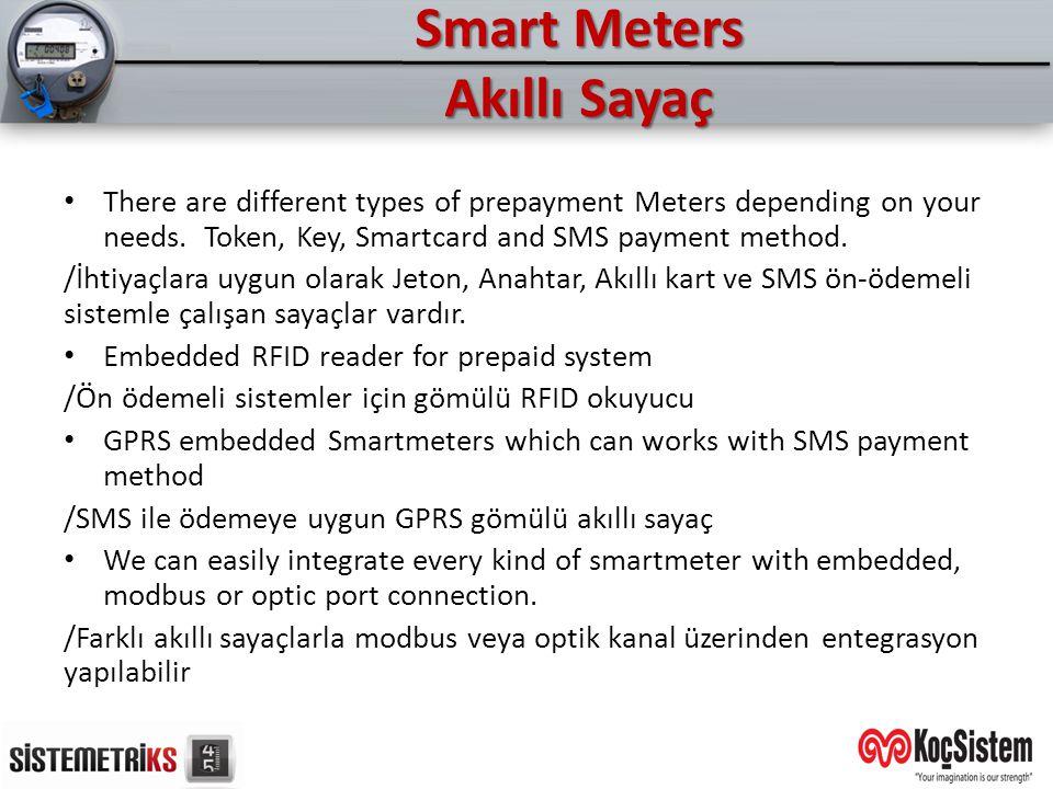 Smart Meters Akıllı Sayaç There are different types of prepayment Meters depending on your needs. Token, Key, Smartcard and SMS payment method. /İhtiy