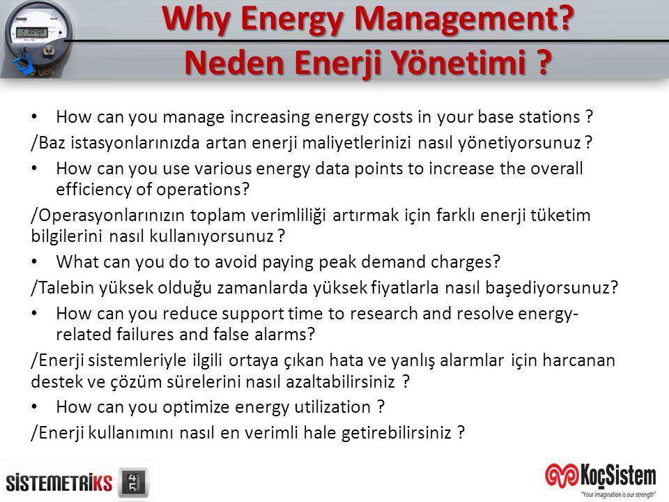 Why Energy Management? Neden Enerji Yönetimi ? How can you manage increasing energy costs in your base stations ? /Baz istasyonlarınızda artan enerji