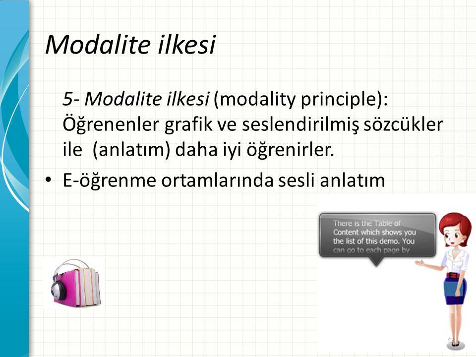 Modalite ilkesi 5- Modalite ilkesi (modality principle): Öğrenenler grafik ve seslendirilmiş sözcükler ile (anlatım) daha iyi öğrenirler. E-öğrenme or