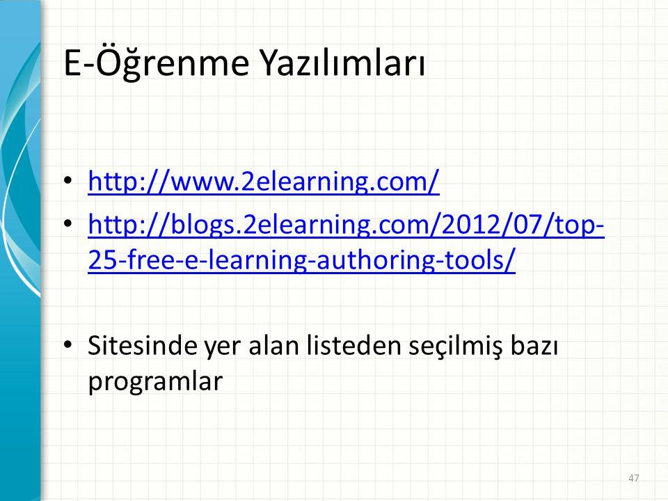 E-Öğrenme Yazılımları http://www.2elearning.com/ http://blogs.2elearning.com/2012/07/top- 25-free-e-learning-authoring-tools/ http://blogs.2elearning.