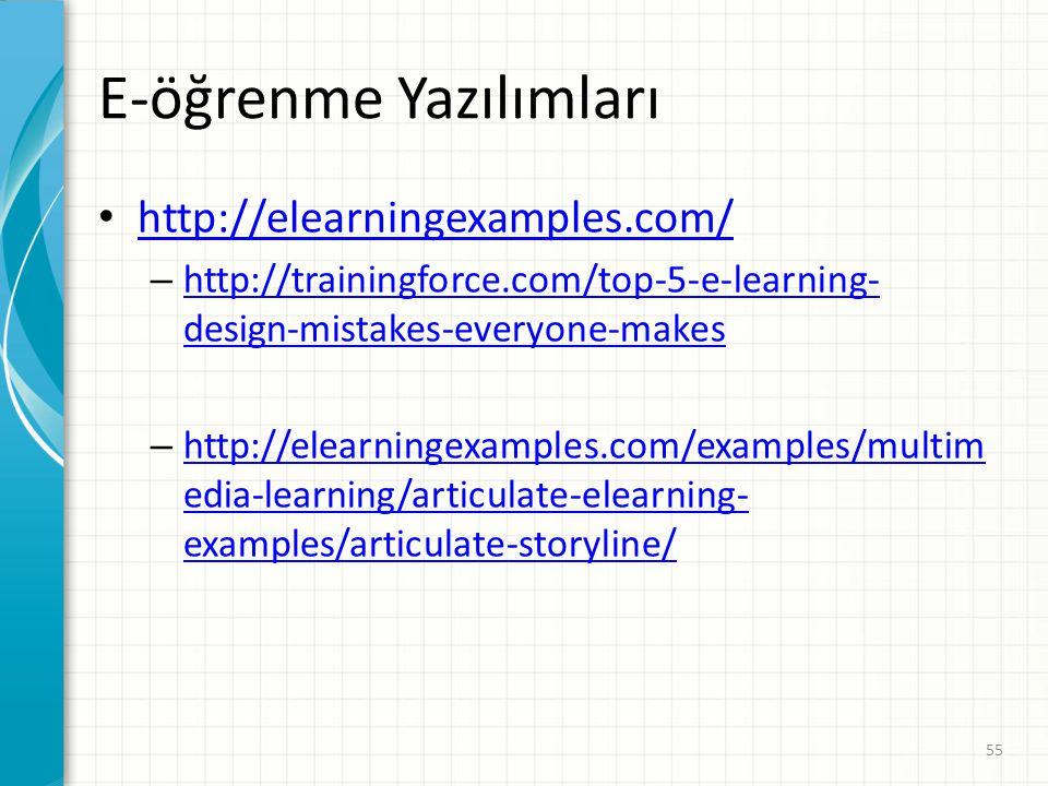 E-öğrenme Yazılımları http://elearningexamples.com/ – http://trainingforce.com/top-5-e-learning- design-mistakes-everyone-makes http://trainingforce.c
